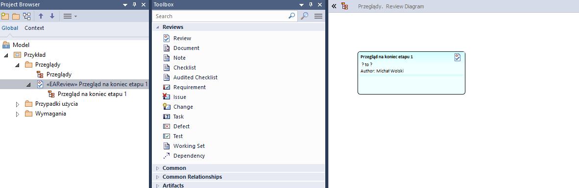 Toolbox diagramu przeglądu