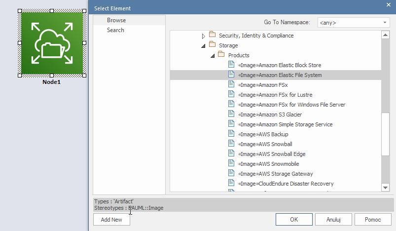 Modelowanie Aws Azure Google Cloud Enterprise Architect Dodawanie Ikony Istniejący Element Piktogram